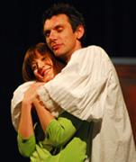 Fotografija s proba predstave MOLIERE Carla Goldonija u režiji Ivice Boban; Marinko Prga i Ana Kraljević; foto: Saša Novković